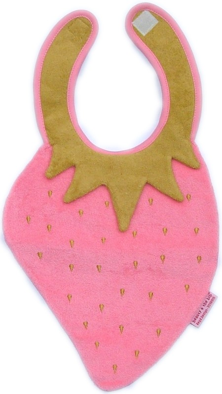 Strawberry Bib - pink/gold