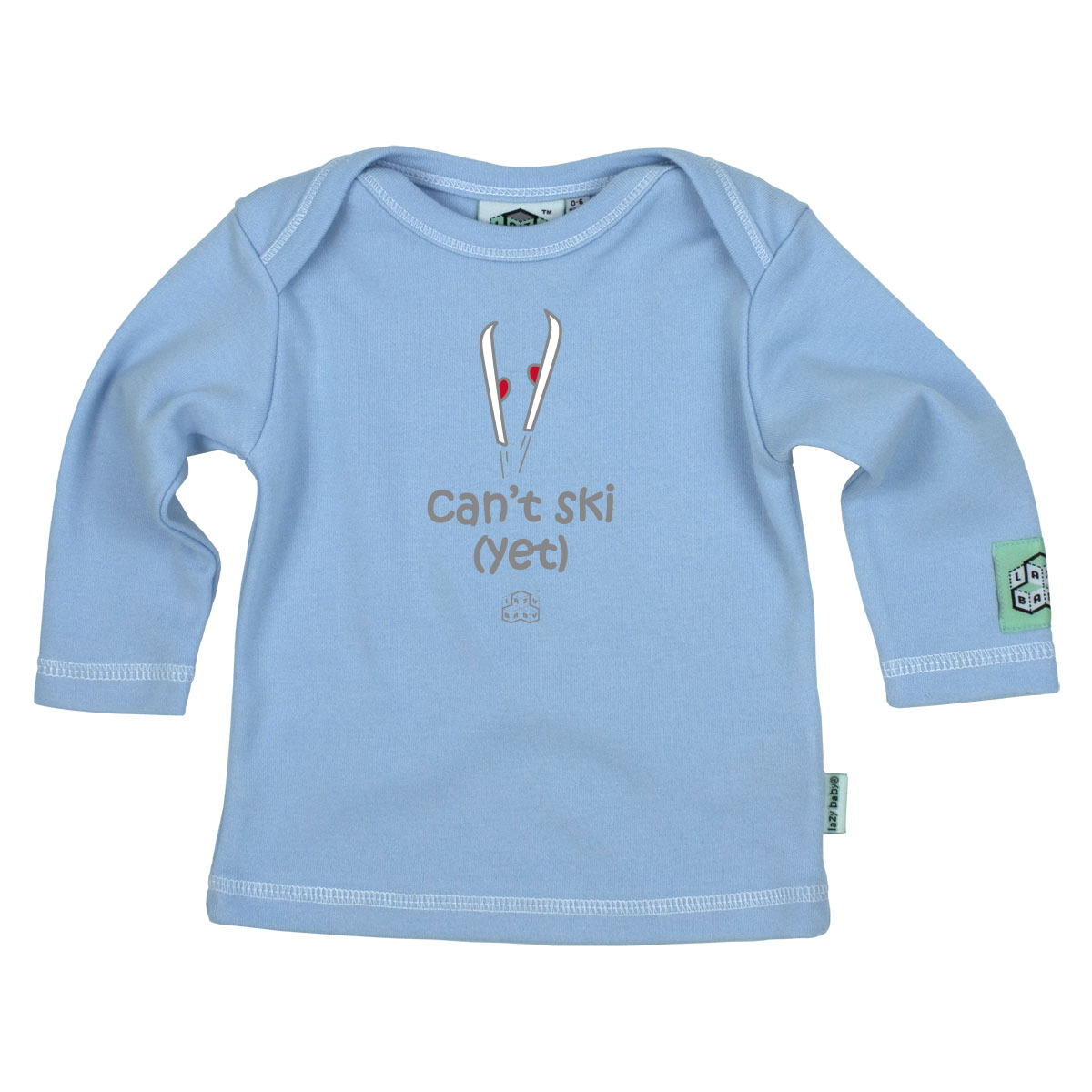 Lazy Baby Can't Ski (Yet) - Sky Blue