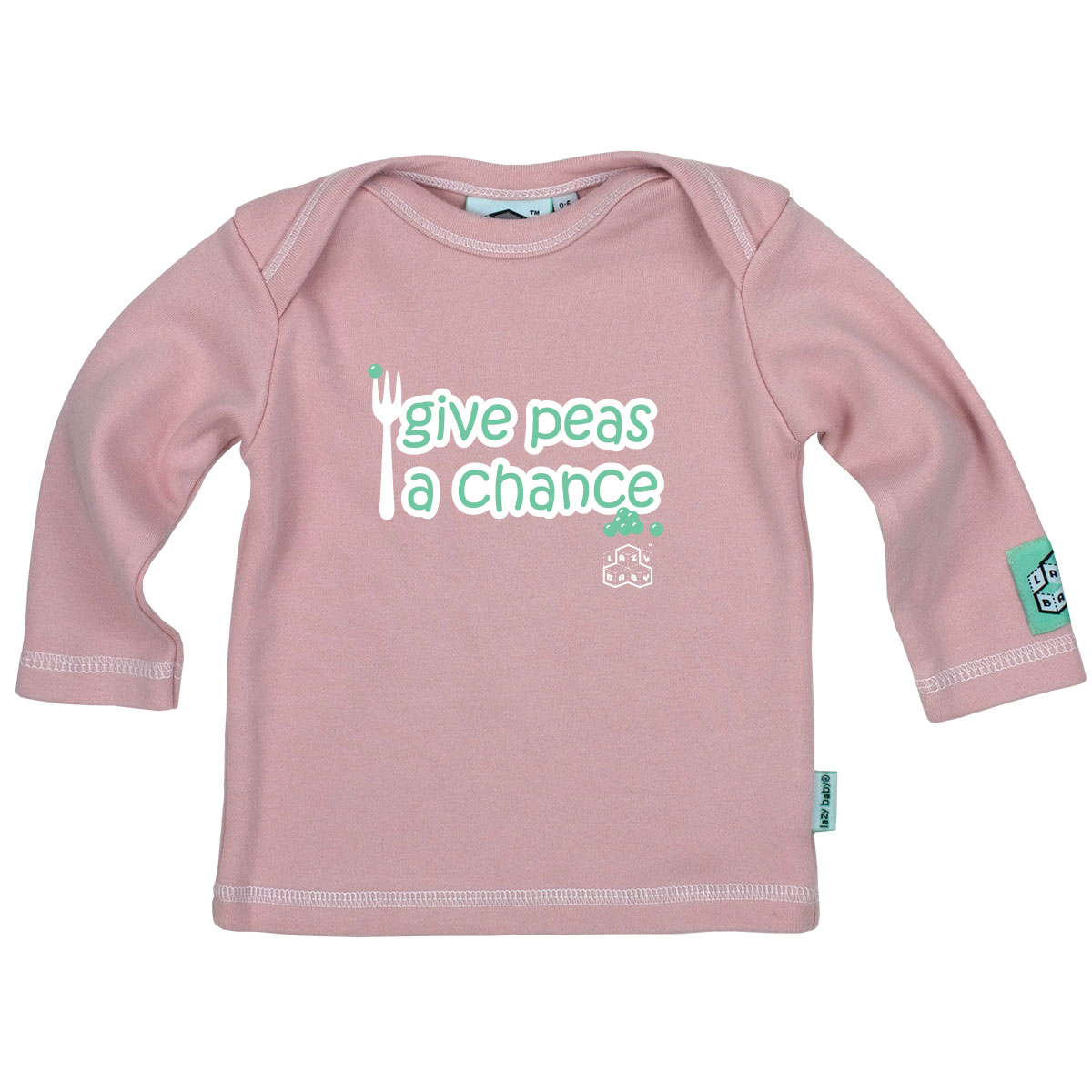 Lazy Baby Give Peas a Chance - Light Pink<br><span style='color: rgb(230, 0, 0);'>CLEARANCE</span>